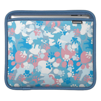 Dog Pink and Blue Camouflage Pattern Sleeves For iPads