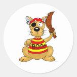 Dog pirate round stickers