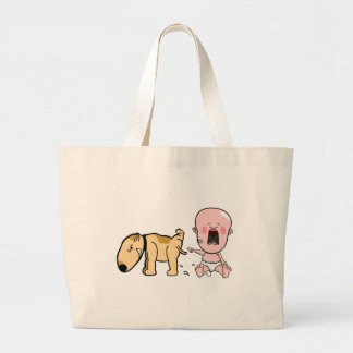 Dog Pisses On Baby-Funny T-shirt Large Tote Bag