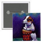 Dog playing bongo drum fun original drumming art button
