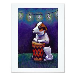 Dog playing bongo drum fun original drumming art card