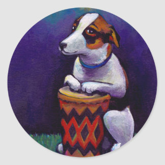 Dog playing bongo drum fun original drumming art classic round sticker