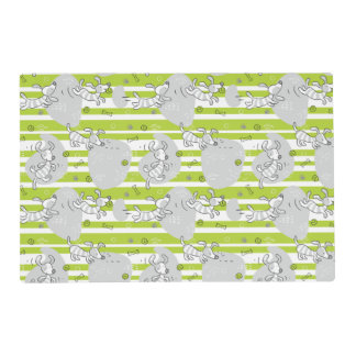 dog playing pattern background placemat