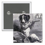 """""""Dog Playing the Flute"""" Vintage Illustration 2 Inch Square Button"""