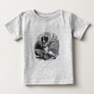"""""""Dog Playing the Flute"""" Vintage Illustration Baby T-Shirt"""