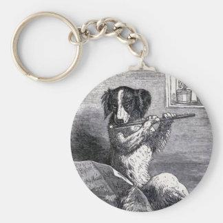 """Dog Playing the Flute"" Vintage Illustration Basic Round Button Keychain"