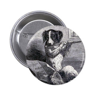 """Dog Playing the Flute"" Vintage Illustration Button"