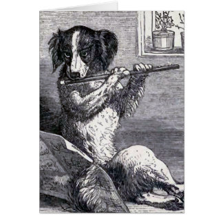 """Dog Playing the Flute"" Vintage Illustration Card"