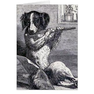 """Dog Playing the Flute"" Vintage Illustration Cards"