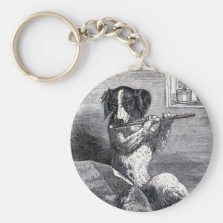 """Dog Playing the Flute"" Vintage Illustration Keychain"