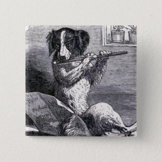 """Dog Playing the Flute"" Vintage Illustration Pinback Button"