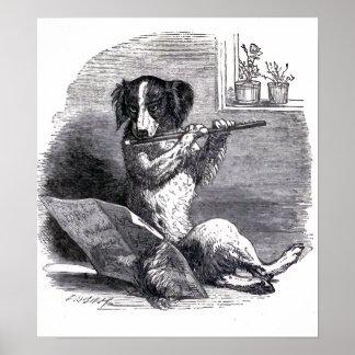 Dog Playing the Flute Vintage Illustration Poster