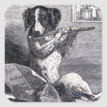 """Dog Playing the Flute"" Vintage Illustration Square Sticker"