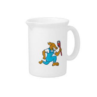 Dog Plumber Running Monkey Wrench Cartoon Drink Pitchers