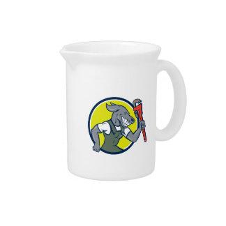 Dog Plumber Running Monkey Wrench Circle Cartoon Drink Pitcher