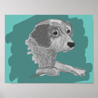 Dog portrait art, dog drawing, dog sketch art poster