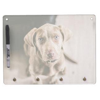 Dog portrait dry erase board with keychain holder