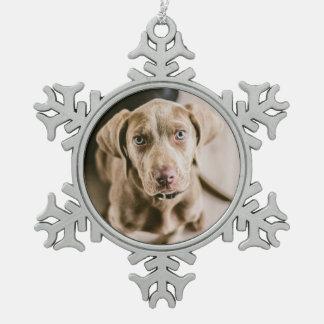 Dog portrait snowflake pewter christmas ornament