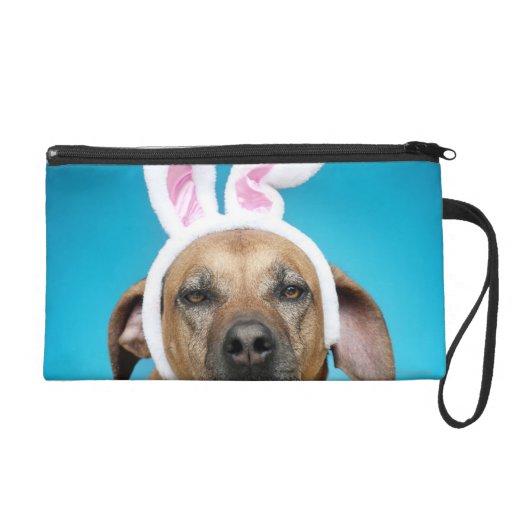 Dog portrait wearing Easter bunny ears Wristlet Purses