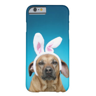 Dog portrait wearing Easter bunny ears Barely There iPhone 6 Case
