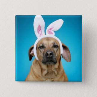 Dog portrait wearing Easter bunny ears Button