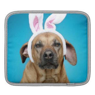 Dog portrait wearing Easter bunny ears iPad Sleeve