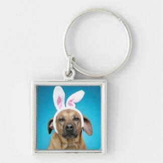 Dog portrait wearing Easter bunny ears Keychain