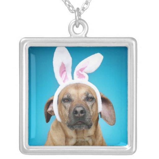 Dog portrait wearing Easter bunny ears Custom Jewelry