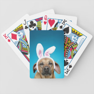 Dog portrait wearing Easter bunny ears Bicycle Poker Deck