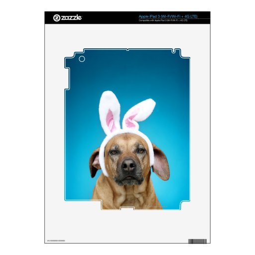 Dog portrait wearing Easter bunny ears Skin For iPad 3