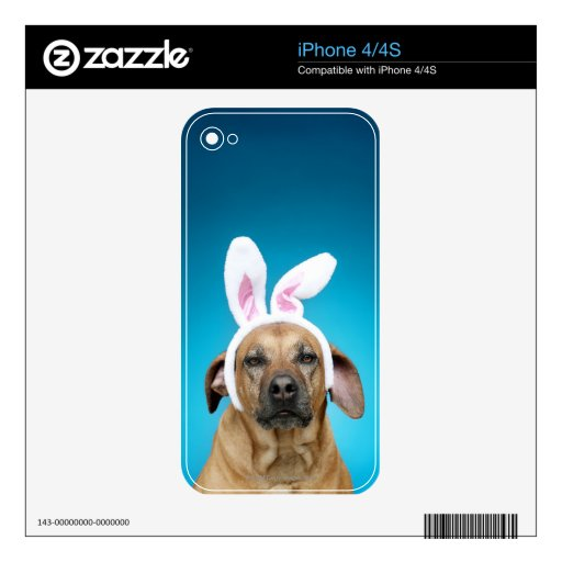 Dog portrait wearing Easter bunny ears Decal For The iPhone 4S