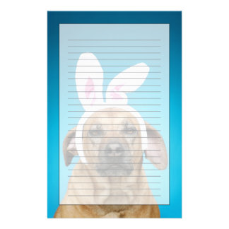 Dog portrait wearing Easter bunny ears Stationery