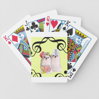 Dog portrait with bass clef bicycle playing cards