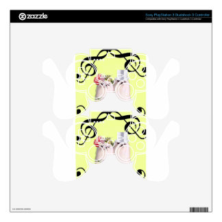 Dog portrait with bass clef decal for PS3 controller