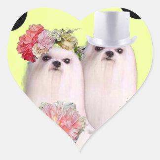 Dog portrait with bass clef heart sticker