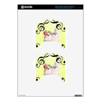 Dog portrait with bass clef xbox 360 controller decal