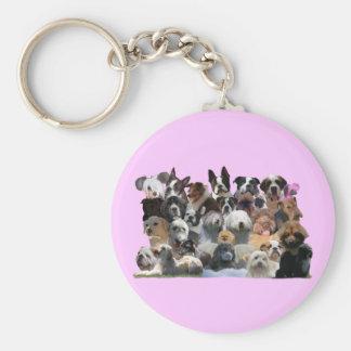 Dog Portraits Basic Round Button Keychain