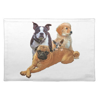 Dog posse with cat placemat