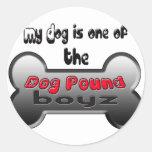 Dog Pounding it Classic Round Sticker