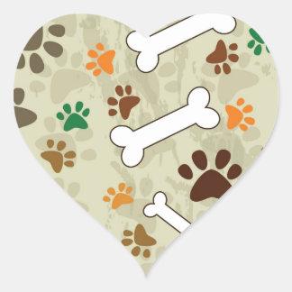 dog pows and bone heart sticker