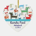 Dog Print Adoption Announcement Ornament