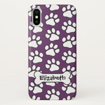 Dog Print Pattern with Bone iPhone X Case