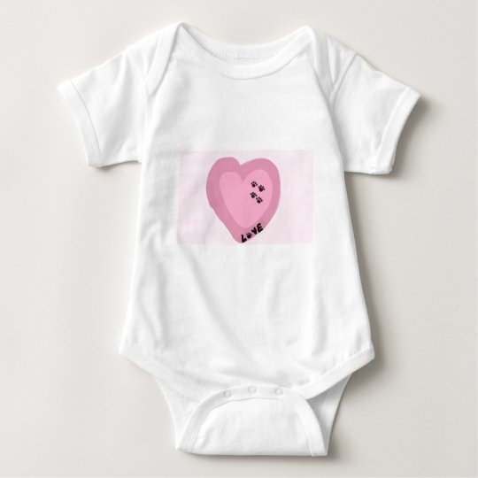 Dog Prints on My Heart Pink Baby Bodysuit