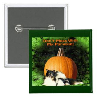 Dog Protecting Large Pumpkin Button