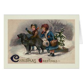 """Dog Pulling Sled"" Christmas Greeting Card"