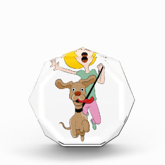 Dog Pulling Woman Cartoon Acrylic Award