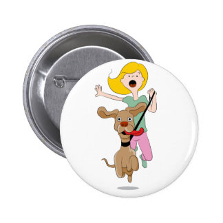 Dog Pulling Woman Cartoon Button