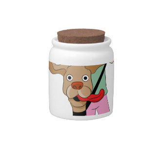Dog Pulling Woman Cartoon Candy Dishes
