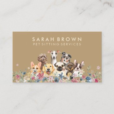 Dog puppies breeds rescue pet groomer business card