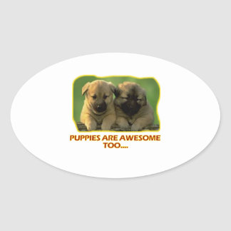 dog puppies' DESIGNS Oval Sticker
